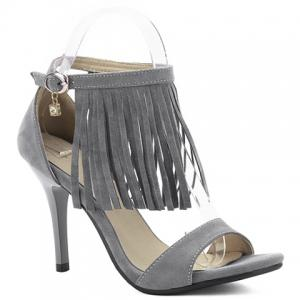 Suede High Heel Fringe Sandals