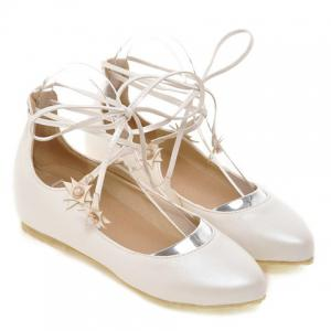 Sweet PU Leather and Faux Pearls Design Flat Shoes For Women -