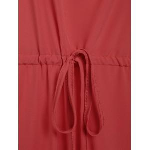 Chic Solid Color Spaghetti Strap Wide Leg Loose Jumpsuit For Women - RED S