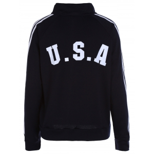 Stripes Spliced Zipper Pocket American Flag Letters Print Stand Collar Long Sleeves Men's Sweatshirt - CADETBLUE M