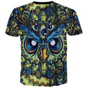 Round Neck 3D Abstract Eyes Printed Short Sleeve T-Shirt For Men -
