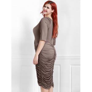 V-Neck Ruched Bodycon Drape Midi Dress - COFFEE 2XL
