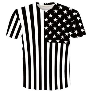 Round Neck 3D Stripe and Star Printed Short Sleeve T-Shirt For Men