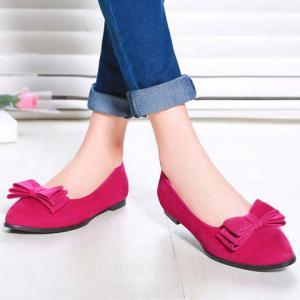 Elegant Bowknot and Flock Design Flat Shoes For Women -