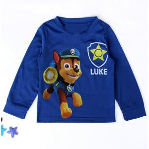 Casual Long Sleeve Dog Patrol Pattern Boy's T-Shirt - Blue - 130