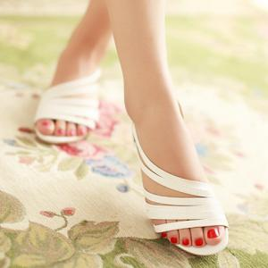 Casual Strappy and PU Leather Design Sandals For Women - WHITE 36