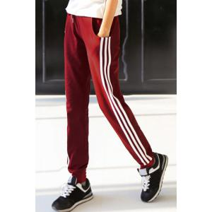 Casual Pocket Design Striped Loose-Fitting Drawstring Women's Pants -