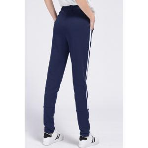 Women's Casual Drawstring Loose-Fitting Striped Sports Pants - PURPLISH BLUE S