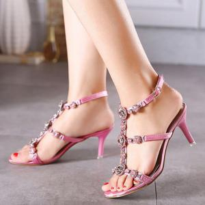 Sweet T-Strap and Stiletto Heel Design Sandals For Women -