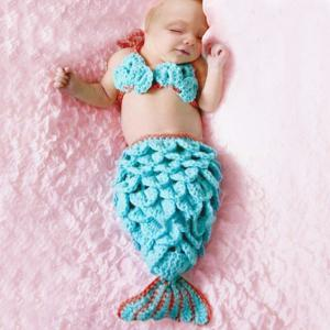 Fashion Manual Wool Knitting Mermaid Design Twinset Baby Sleeping Bag Blanket - Blue