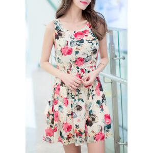 Trendy Scoop Neck Sleeveless Floral Print Slimming Women's Dress - Apricot - S
