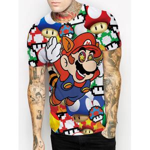 Funny 3D Cartoon Mario Print Round Neck Short Sleeves T-Shirt For Men -