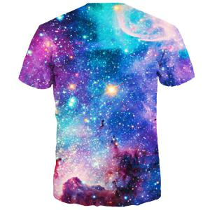 3D Colorful Starry Sky Print Round Neck Short Sleeves T-Shirt For Men -