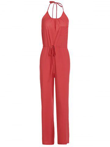 Affordable Chic Solid Color Spaghetti Strap Wide Leg Loose Jumpsuit For Women RED S