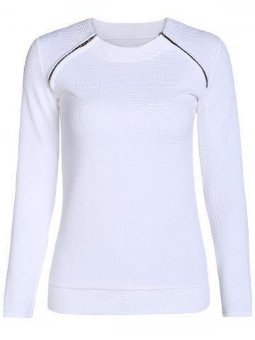 Fancy Stylish Scoop Neck Long Sleeve Zipper Design Women's Sweatshirt WHITE S