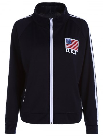New Stripes Spliced Zipper Pocket American Flag Letters Print Stand Collar Long Sleeves Men's Sweatshirt CADETBLUE M