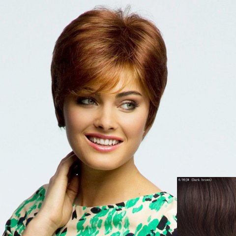 Discount Graceful Short Straight Fashion Inclined Bang Capless Human Hair Wig For Women