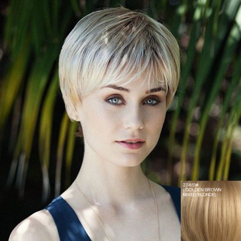 Shop Stylish Side Bang Capless Stunning Short Straight Real Natural Hiar Wig For Women
