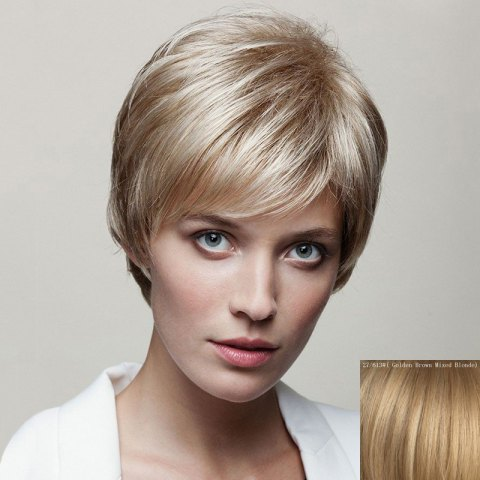 Buy Spiffy Short Capless Fluffy Natural Straight Side Bang Human Hair Wig For Women