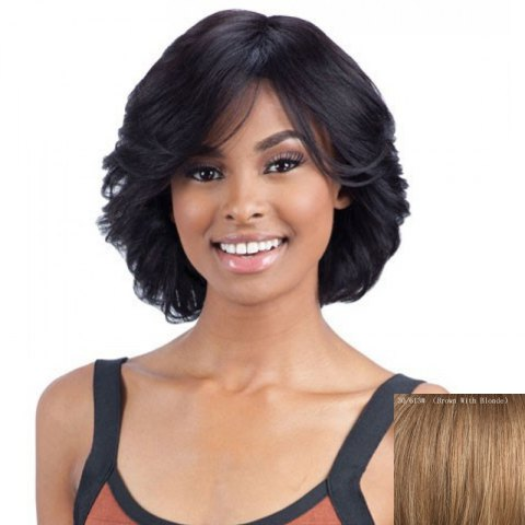 Store Elegant Short Side Bang Fluffy Wavy Capless Real Natural Hair Wig For Women