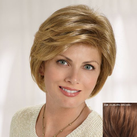 Hot Graceful Short Side Bang Fluffy Natural Wavy Capless Human Hair Wig For Women - AUBURN BROWN #30  Mobile