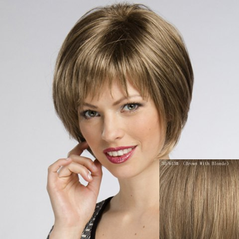 Chic Women's Trendy Straight Short Human Hair Wig