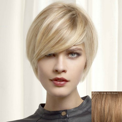 Latest Women's Trendy Side Bang Short Human Hair Wig