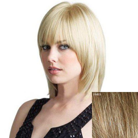 Fancy Women's Full Bang Layered Human Hair Wig