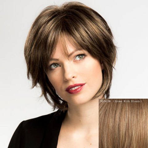 Fashion Women's Side Bang Fluffy Human Hair Wig