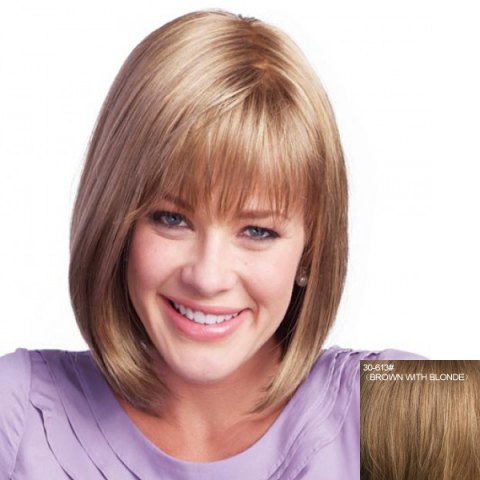 Discount Women's Neat Bang Medium Human Hair Wig