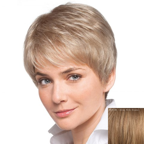 Outfits Women's Short Inclined Bang Human Hair Wig