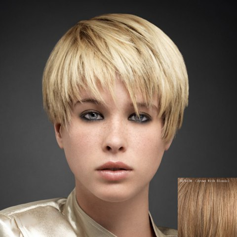Outfit Fluffy Straight Ultrashort Human Hair Wig For Women
