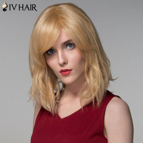 Hot Shaggy Natural Wave Capless Vogue Medium Side Bang Human Hair Wig For Women - GOLDEN BROWN WITH BLONDE  Mobile