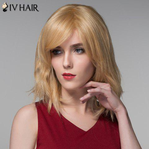 Shop Shaggy Natural Wave Capless Vogue Medium Side Bang Human Hair Wig For Women - GOLDEN BROWN WITH BLONDE  Mobile