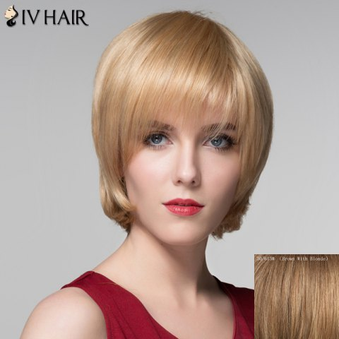 Hot Attractive Straight Capless Vogue Short Side Bang Real Natural Hair Wig For Women