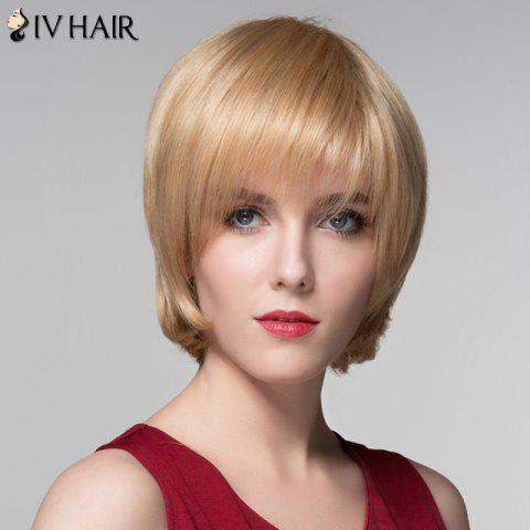 Trendy Attractive Straight Capless Vogue Short Side Bang Real Natural Hair Wig For Women - GOLDEN BROWN WITH BLONDE  Mobile