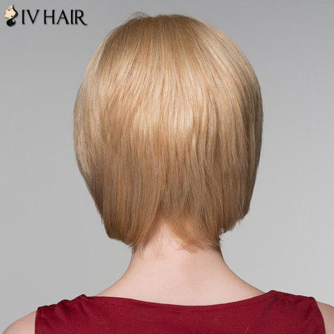 Online Attractive Straight Capless Vogue Short Side Bang Real Natural Hair Wig For Women - GOLDEN BROWN WITH BLONDE  Mobile