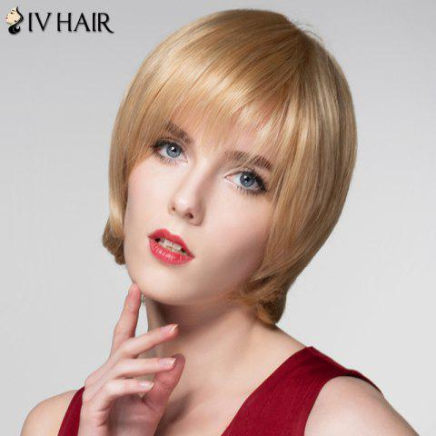 Outfit Attractive Straight Capless Vogue Short Side Bang Real Natural Hair Wig For Women - GOLDEN BROWN WITH BLONDE  Mobile