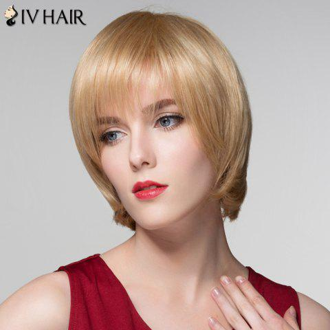 Buy Attractive Straight Capless Vogue Short Side Bang Real Natural Hair Wig For Women - GOLDEN BROWN WITH BLONDE  Mobile