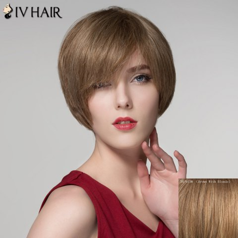 Chic Assorted Color Side Bang Capless Elegant Short Straight Human Hair Wig For Women