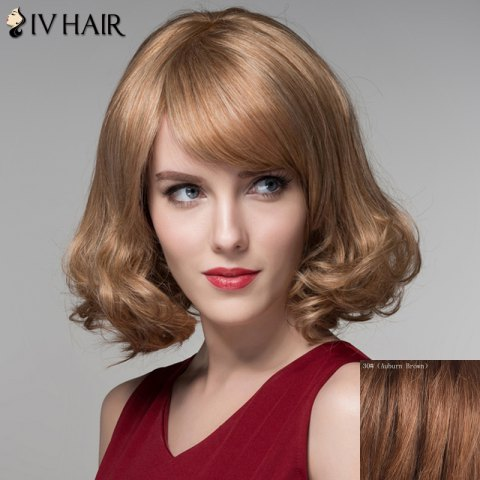 Trendy Fashion Side Bang Capless Stunning Short Shaggy Wavy Human Hair Wig For Women
