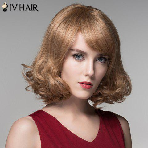 Shop Fashion Side Bang Capless Stunning Short Shaggy Wavy Human Hair Wig For Women - BROWN WITH BLONDE  Mobile