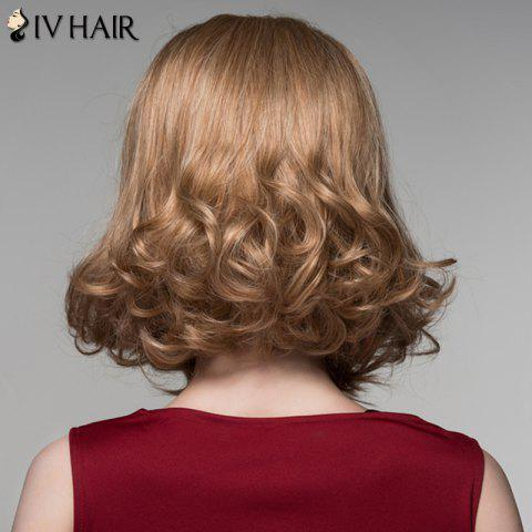 Outfit Fashion Side Bang Capless Stunning Short Shaggy Wavy Human Hair Wig For Women - BROWN WITH BLONDE  Mobile