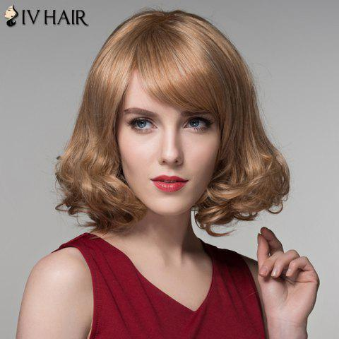 Store Fashion Side Bang Capless Stunning Short Shaggy Wavy Human Hair Wig For Women - BROWN WITH BLONDE  Mobile