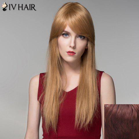 Store Charming Silky Straight Capless Trendy Long Side Bang Human Hair Wig For Women