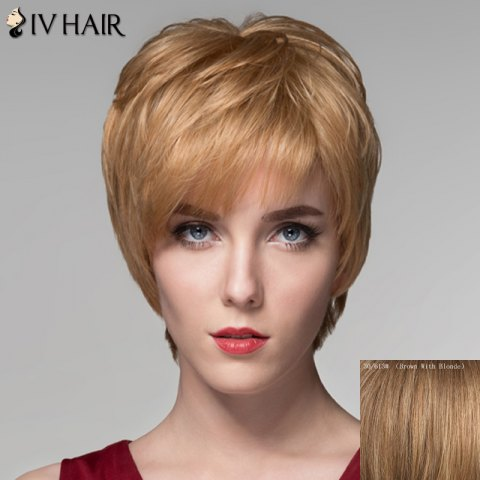 Chic Spiffy Short Inclined Bang Fluffy Natural Wave Capless Human Hair Wig For Women