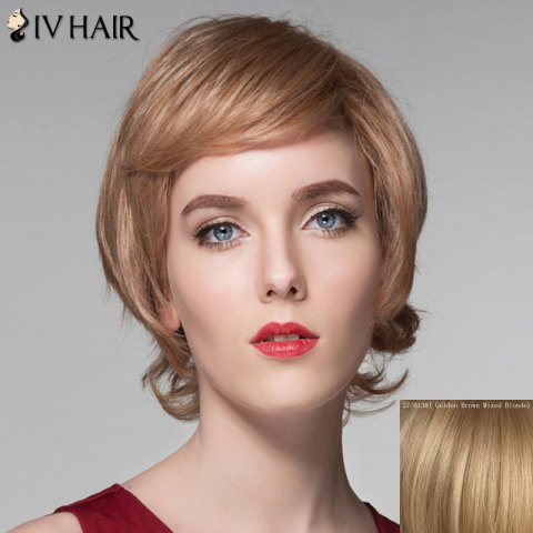 Online Assorted Color Side Bang Capless Spiffy Short Fluffy Wavy Human Hair Wig For Women GOLDEN BROWN WITH BLONDE