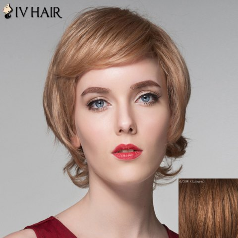 Assorted Color Side Bang Capless Short Fluffy Wavy Human Hair Wig 173945105