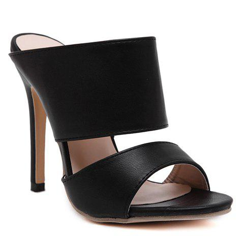 Fancy Sexy PU Leather and Super High Heel Design Sandals For Women