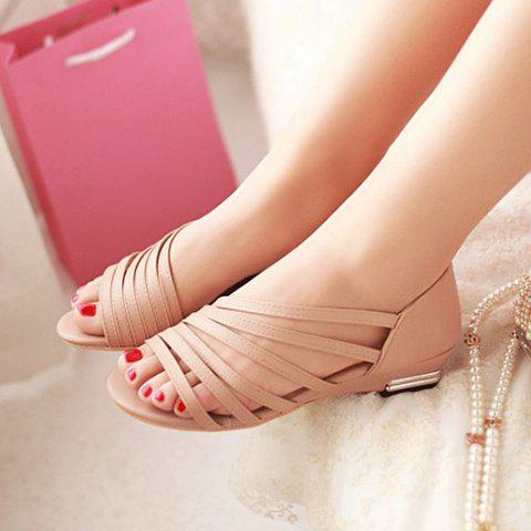 Outfit Casual Strappy and PU Leather Design Sandals For Women - 39 APRICOT Mobile